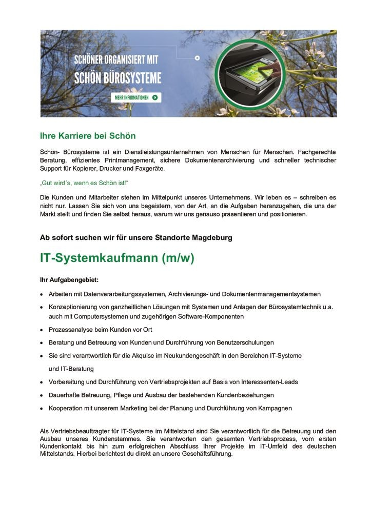 thumbnail of Stellenanzeige IT-Systemkaufmann